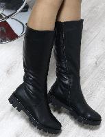 Сапоги зимние кожаные чёрные на тракторной подошве