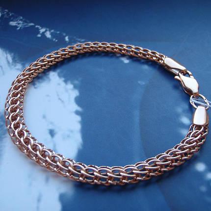 Серебряный позолоченный браслет, 210мм, 11 грамм, плетение Питон, фото 2