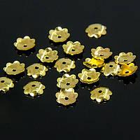 Шапочки Латунные для Бусин, Цветок, Цвет: Золото, Диаметр: 6мм, Отверстие 1.2мм, около 45шт/3г, (УТ100007575)