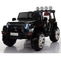 Детский двухместный электромобиль JEEP M 3572 EBLRS-2: 4x4, 8 км/ч, EVA, кожа - BLACK PAINT