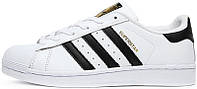Мужские кроссовки Adidas Superstar White/Black/Gold, адидас суперстар