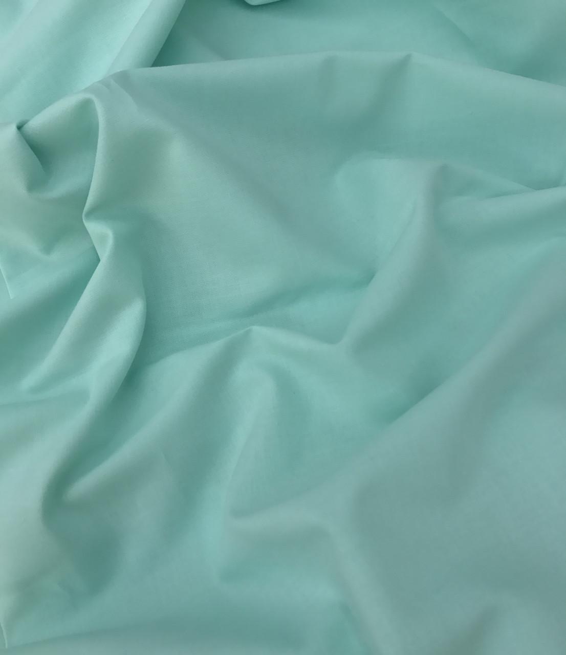 Хлопковая ткань премиум-класса однотонная мятная №520