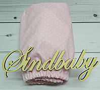 Детская простынь на резинке в кроватку, розовая горошинка 60х120 см