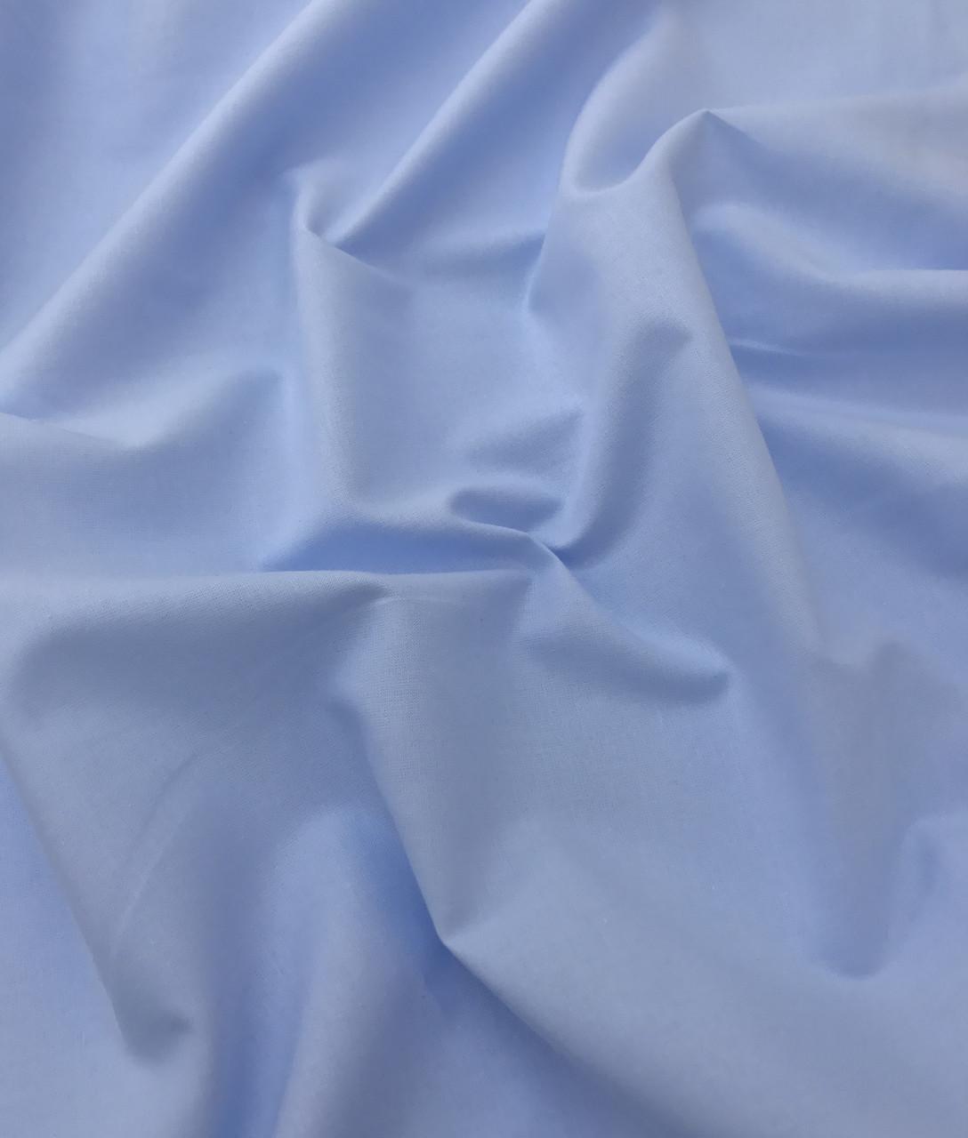 Хлопковая ткань премиум-класса однотонная голубая №518
