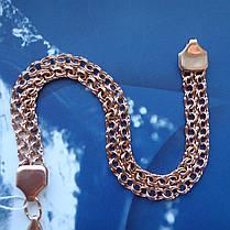 Серебряный позолоченный браслет, 195мм, 11 грамм, плетение двойной Бисмарк, фото 2