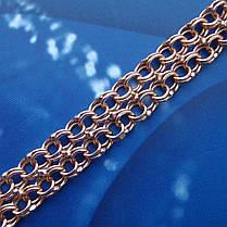 Серебряный позолоченный браслет, 195мм, 11 грамм, плетение двойной Бисмарк, фото 3