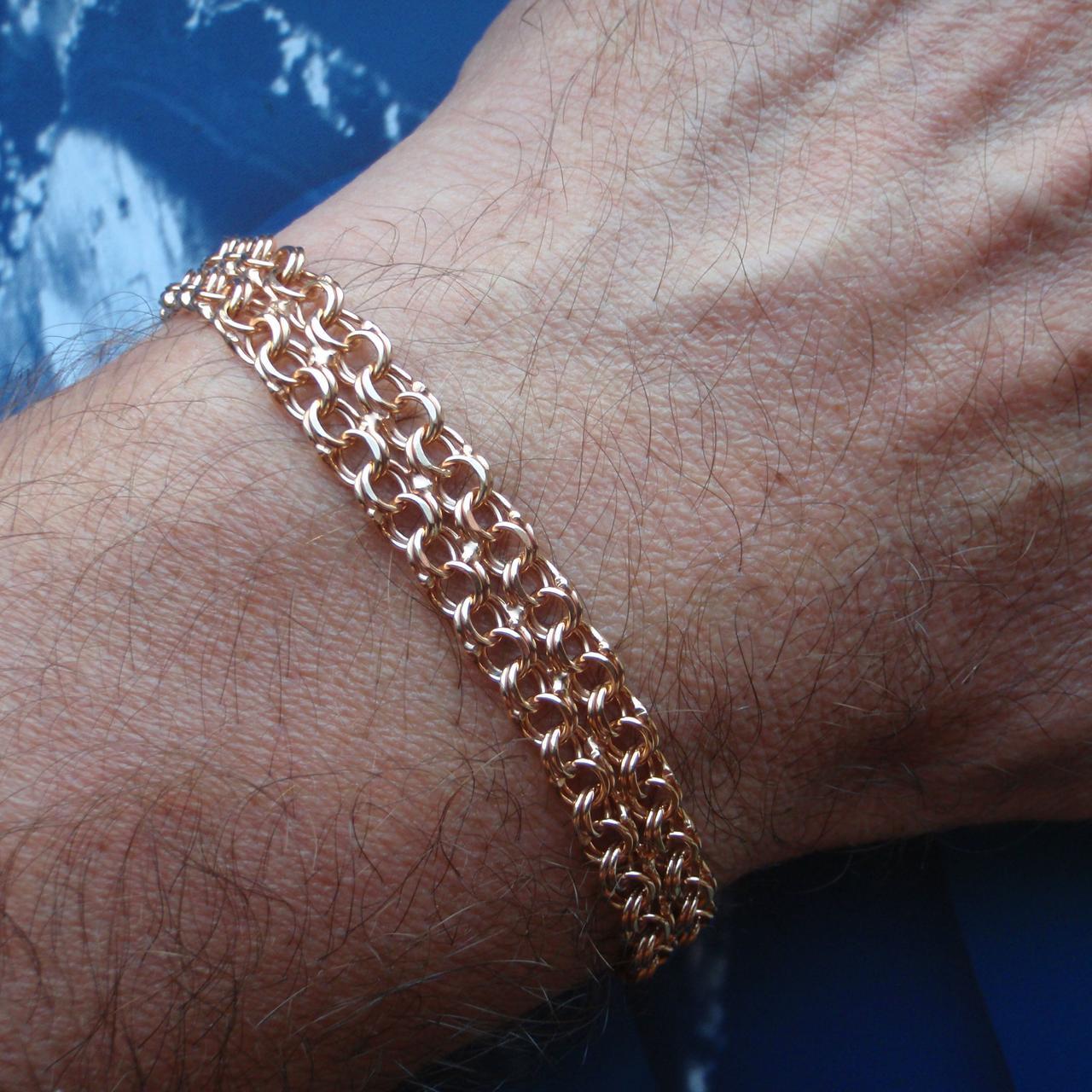 Серебряный позолоченный браслет, 195мм, 11 грамм, плетение двойной Бисмарк