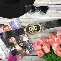 Кожаный ремень D&G с декоративной пряжкой и брендовой надписью , фото 1