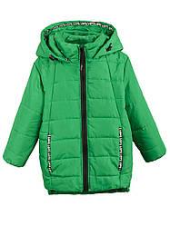 Детская демисезонная куртка ЮЛЯ на флисе для девочки, зеленая, р.104,110