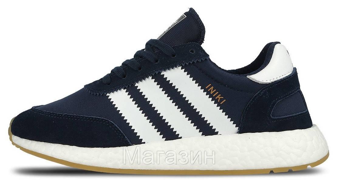 Мужские спортивные кроссовки Adidas Iniki Runner Boost Navy, Адидас Иники синие