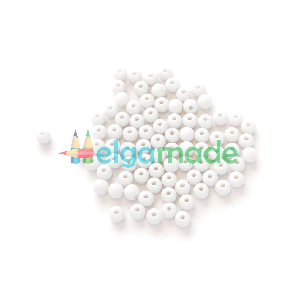 Бусины пластиковые 6 мм, 10 г, БЕЛЫЕ