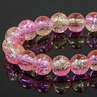 Бусины Стекло Кракле 6мм, Двухцветные, круглые, Цвет: Розово-салатовый A56, Диаметр: 6мм, Отв-тие 1мм, около 134шт/нить, (УТ100008548)