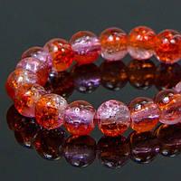 Бусины Стекло Кракле 6мм, Двухцветные, круглые, Цвет: Оранжево-розовый A62, Диаметр: 6мм, Отв-тие 1мм, около 134шт/нить, (УТ100008549)