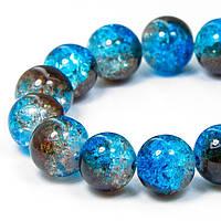 Бусины Стекло Кракле 10мм, Двухцветные, круглые, Цвет: Сине-коричневый A78, Диаметр: 10мм, Отв-тие 1мм, около 80шт/нить, (УТ100008553)