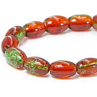 """Бусины """"Битое Стекло"""" Двухцветные, Овальные, Цвет: Оранжево-зеленый A76, Размер: 11х8мм, Отверстие 1.5мм, около 70шт/нить, (УТ100008559)"""