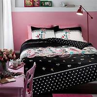 TAC Satin MARCIANO евро черный Комплект постельного белья
