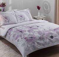 Комплект постельного белья TAC SATEN LINUS Лиловый евро