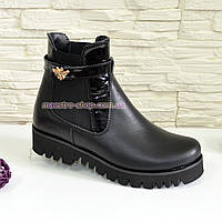 Ботинки кожаные женские демисезонные на тракторной подошве, цвет черный., фото 1