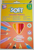 Карандаши цветные CFS Extra Soft CF15142, 18 цветов, треугольные