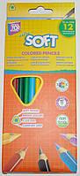 Карандаши цветные CFS Extra Soft CF15143, 12 цветов, треугольные