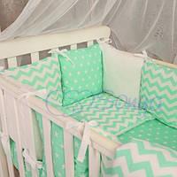 Комплект постельного белья в детскую кроватку Baby Design Звезды мятные, МС28