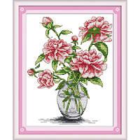 """Набор для вышивания крестиком """"Пионы в вазе"""", H026,"""