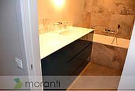 Тумба в ванную со стиральной машиной с каменной столешницей и керамической мойкой