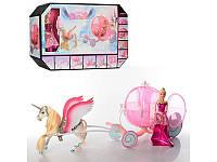Карета с лошадью 52см, лошадь с крыльями, кукла 29см, 68019