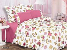 Постельное белье комплект ARYA Люкс Сатин Шовк Bear евро розовый