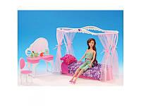 Мебель для кукол спальня, кровать с балдахином, столик-трюмо, стул, 2624