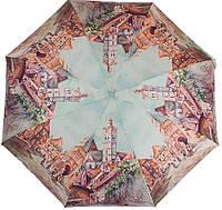 Современный женский зонт, полуавтомат ZEST (ЗЕСТ) Z24665-3934 Города, коричневый