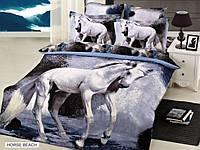 Постельное белье 3д ARYA друкований Сатин 3D Exclusive Horse Beach