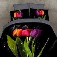 Комлект постельного белья Love You сатин Тюльпаны семейный (2 пододеяльника)