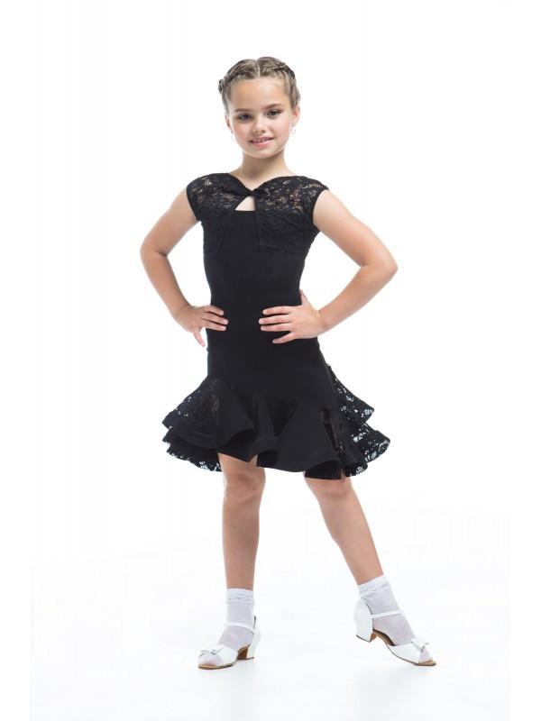 Юбка для танцев с гипюром  Sevenstore 8101 Черная