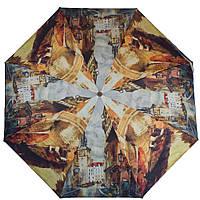 Практичный женский зонт, полуавтомат ZEST (ЗЕСТ) Z24665-4001 Города, коричневый