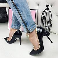 Женские лаковые туфли черные с заклепками эко лак каблук 10,5 см