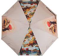 Надежный женский зонт, полуавтомат ZEST (ЗЕСТ) Z24665-4003 Города, бежевый