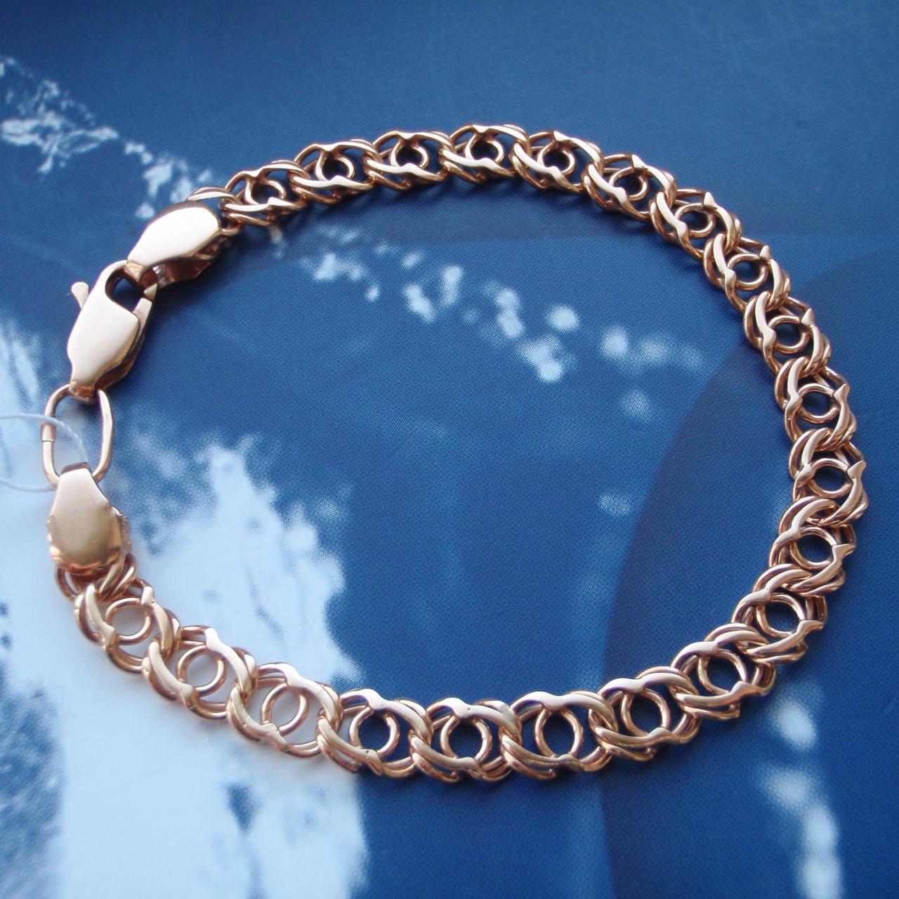 Серебряный позолоченный браслет, 200мм, 9 грамм, плетение Арабский бисмарк
