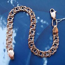 Серебряный позолоченный браслет, 200мм, 9 грамм, плетение Арабский бисмарк, фото 2