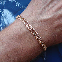 Серебряный позолоченный браслет, 200мм, 9 грамм, плетение Арабский бисмарк, фото 3