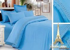 Комплект постельного белья Love You сатин кружево голубой