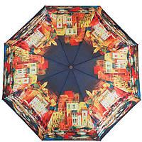 Интересный женский зонт, полуавтомат ZEST (ЗЕСТ) Z24665-4007 Города, синий с красным