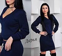 Костюм женский стильный свитер и юбка мини вязка 5 цветов Kch556