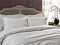Комплект постельного белья Tivolyo Home DIAMANT сатин с кружевом Белый евро