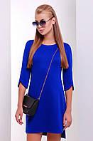 Стильное прямое платье выше колен с разрезами на рукавах и подоле цвет электрик