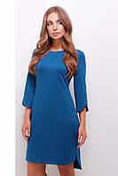 Стильное прямое платье выше колен с разрезами на рукавах и подоле цвет волна