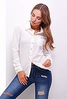 Легкая офисная блузка рубашечного кроя цвет молоко