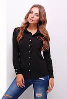 Легкая офисная блузка рубашечного кроя черная