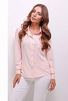 Легкая офисная блузка рубашечного кроя персиковая