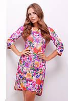 Фиолетовое женское прямое платье с цветочным принтом с разрезами на рукавах и внизу